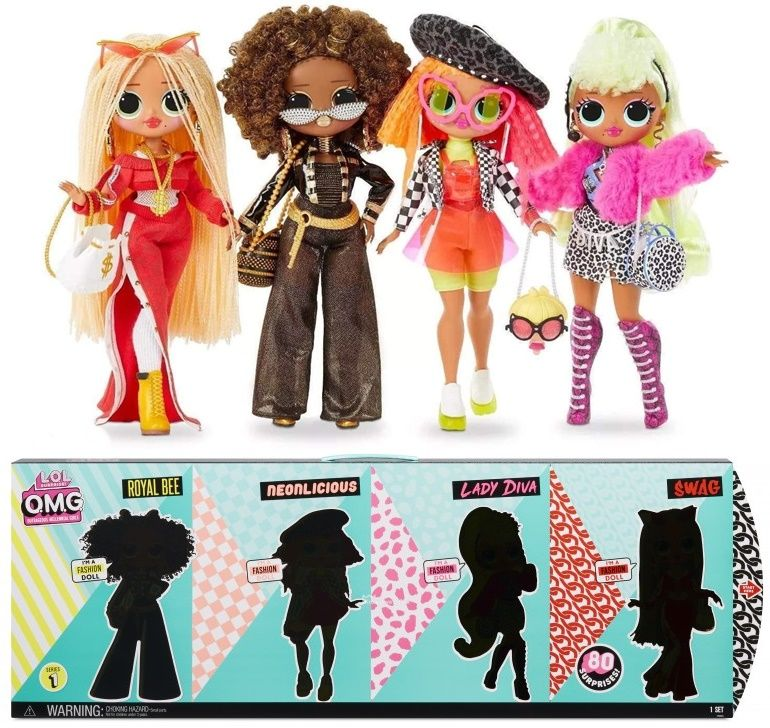 MGA L.O.L. Surprise OMG série 1. balení 4 panenek Lady Diva Royal Bee Neonlicious Swag